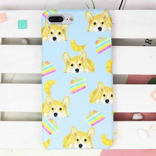 Corgi Rainbow Cake croissant Matt finished phone case for iPhone X 8 8 Note 8 J7