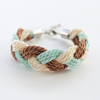 Brown/Light mint/Cream twist-cord braided bracelet