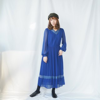 Vintage Royal Blue V-neck Dress