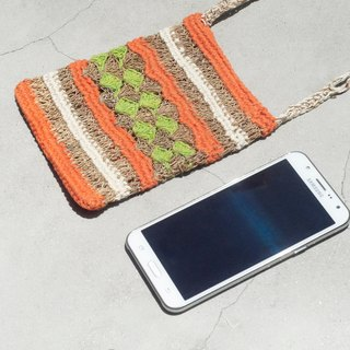 Limited edition of a natural hand-woven cotton and linen mobile phone bag / mobile phone sets / shoulder bag / packet / travel bag - sunshine forest color