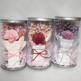 Flower daily dry rose flower bouquet / small card can be customized / with kraft paper bag / exchange gift