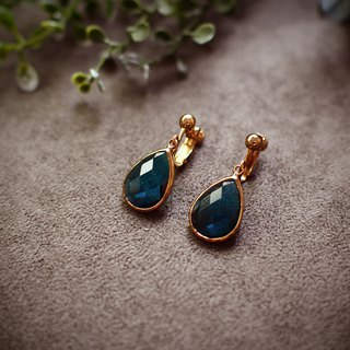 [Azure Blue Water Drop] Imported Cut Glass Drop Earrings Vintage Ancient Gold