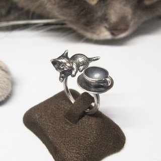 Cute Silver Cat Open Ring Tea Cup Ring Tea Party Dress Cat Lover Gift For Her Mom Cat Loss Birthday Christmas Cat & Tea Time by IONA SILVER