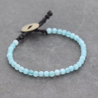 Aquamarine Bracelet Blue Gemstone Bracelet Raw Brass Oval Simple