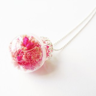 *Rosy Garden* cherry red and pink color baby's breath glass ball necklace