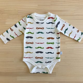 gujui mustache - organic cotton long sleeve package fart clothing 3 ~ 6M