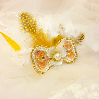 Classic elegant diamond lace pearl headband - gold feather embroidery lace