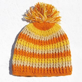Christmas gift limited handmade handmade pure wool hat / knitted hat / inner bristle handmade hair hat / made wool cap (made in nepal) - orange lemon juice colorful stripes