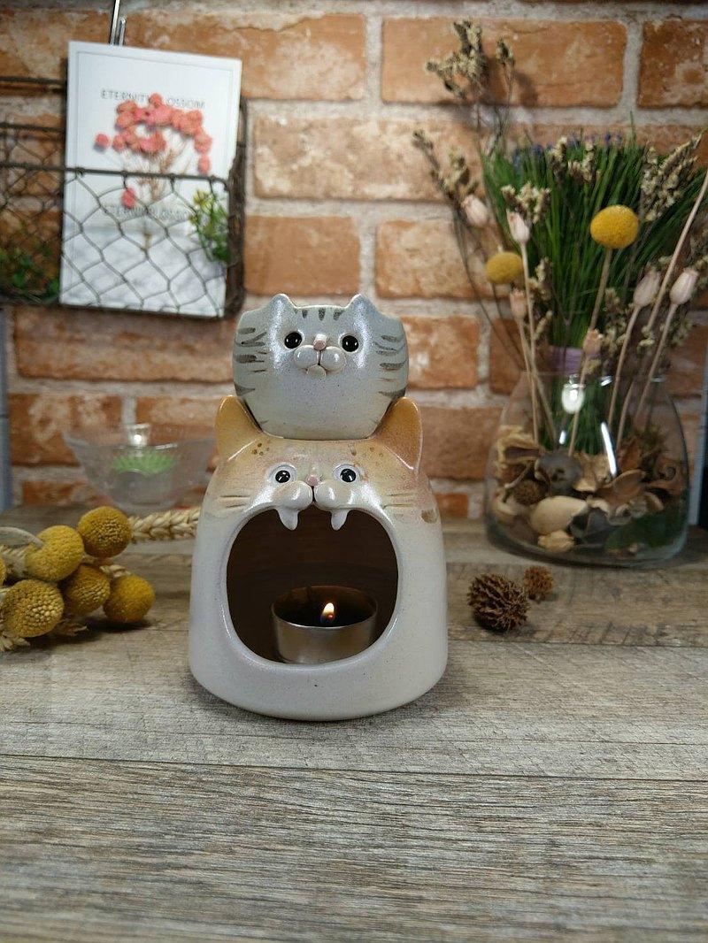 動物造型精油蠟燭燈-灰虎斑+橘白貓