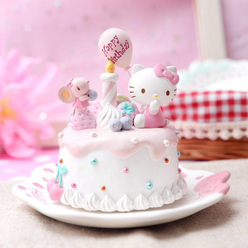 Hello Kitty Birthday Cake Music Bell Decoration Plate Birthday