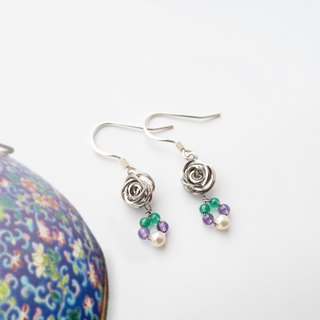 Beaded Series | Wire Round Rose | Handmade 925 Sliver Earrings