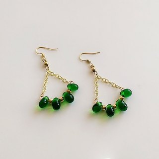 [Sarah Series] Green Glass Brass Hand-made Green • Earrings (changeable clip type)