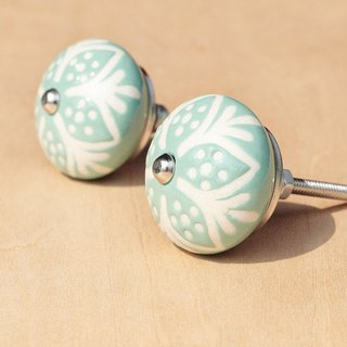 British creative gift retro hand-painted ceramic handle / ceramic doorknob / doorknob ceramic window - perspective Glyph tiffany green flowers