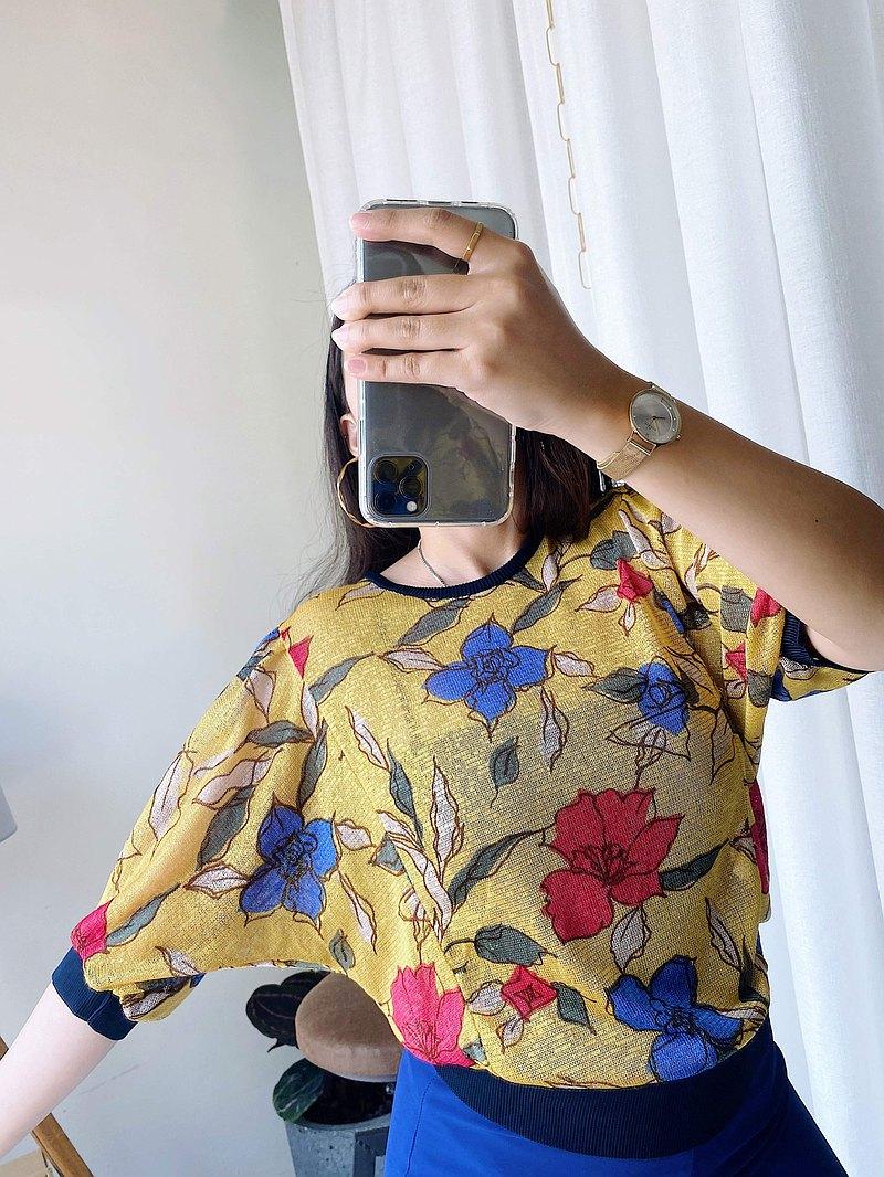 shirt • 亮黃浪漫粉藍秋日綴花 紗網細針織上衣 古著 ' vintage