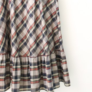 Retro European pastoral style cute gray purple Plaid cotton vintage dress European Vintage Skirt