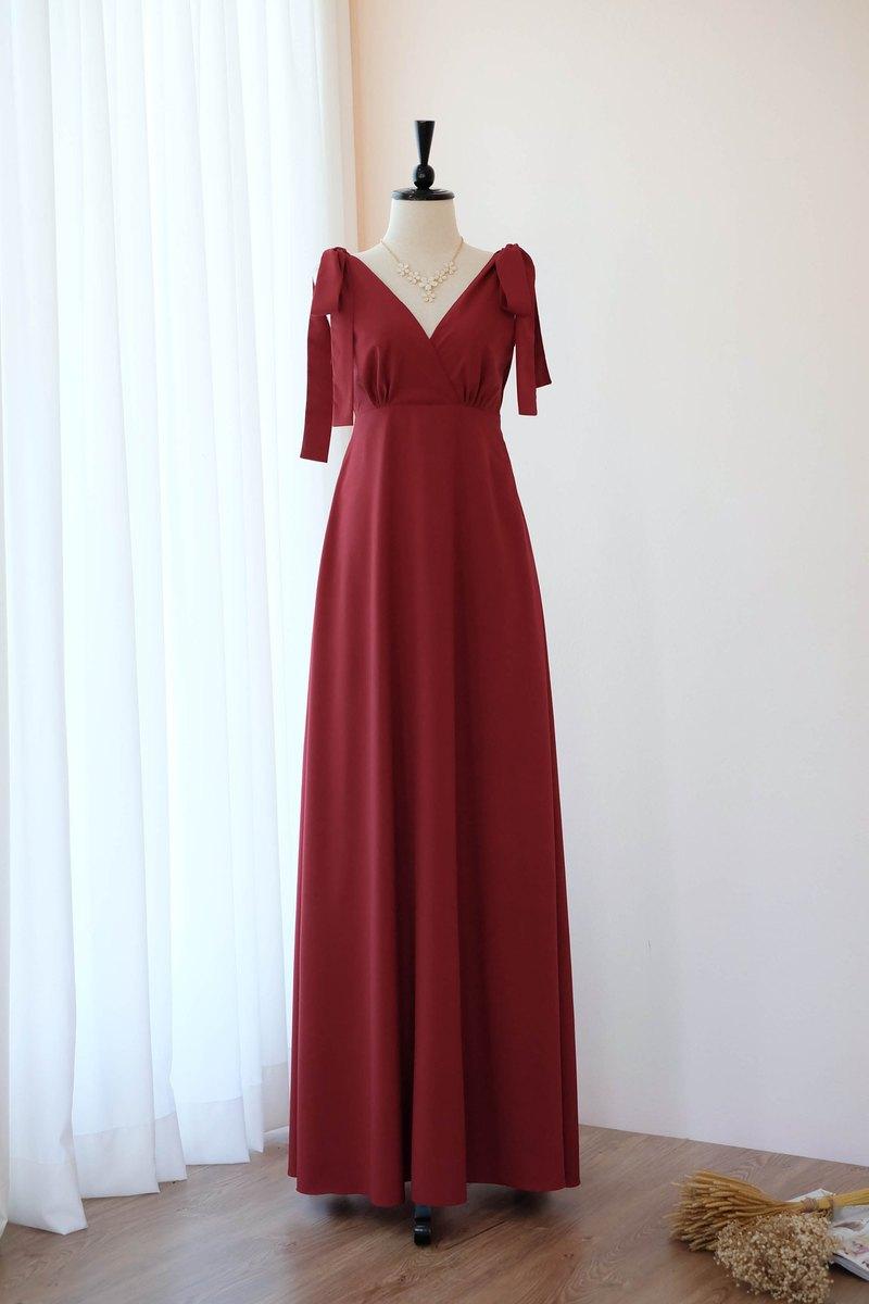 勃艮第紅色禮服婚禮新娘禮服伴娘禮服長方雞尾酒