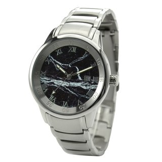 Marble Pattern Watch Black Case Black Face with Metal Band - Free shipping