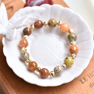 Large size Gobi color agate * engraved gold-plated bead bracelet