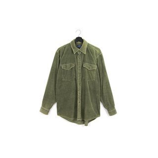 Back to Green :: Corduroy thick stripes sapphire / / men and women can wear / / vintage Shirts