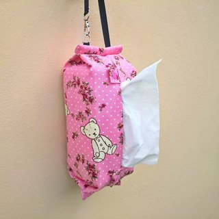 Hangable movable hook storage bag toilet paper / paper cover pink teddy bear*SK*