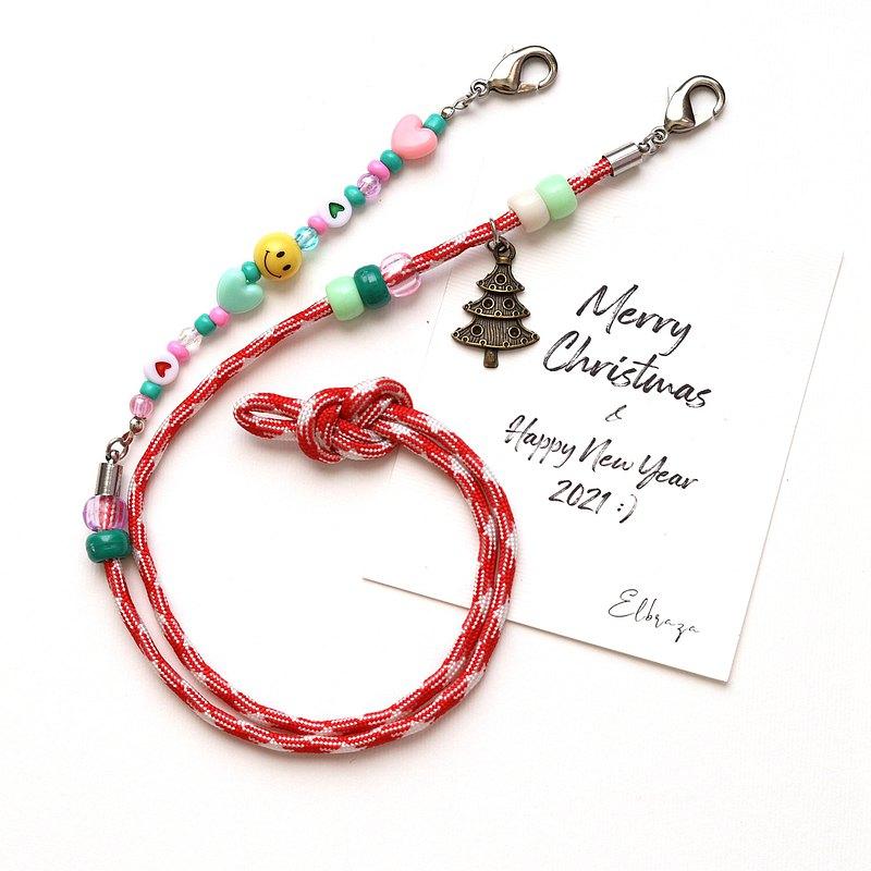 聖誕禮物2021-口罩掛繩錶帶-紅色聖誕樹笑臉口罩帶