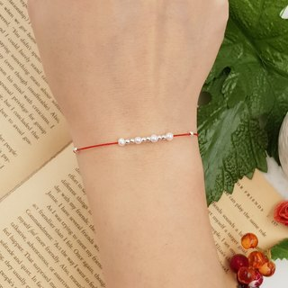 *Le Bonheur Line Happiness Line*Sterling Silver Silver Pearl Bracelet Hand Line Design Redline Red Bracelet Red String Simple Temperament Margin