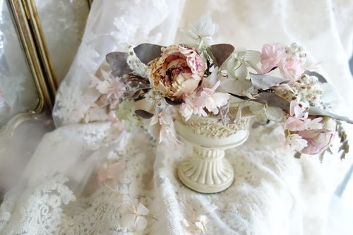 Wedding floral series ~ classical smoke gray peony wreath