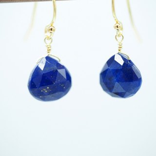 [Maya Tara] 14KGF natural lapis lazuli watermark faceted gemstone earrings Lapis Lazuli