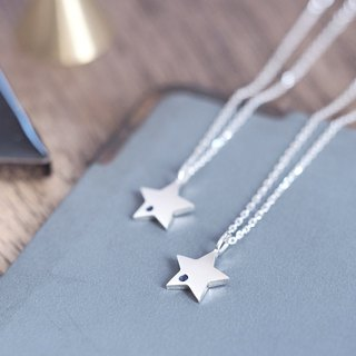 2 set) sapphire star pair necklace silver 925