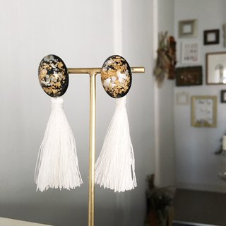 Black Cabochon with White Tassel earrings