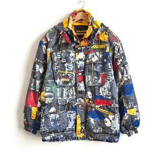 Vintage GOLDWIN watercolor painting ski jacket with a vintage coat