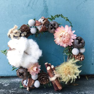 [Good] dried flower wreath Christmas wreath Christmas wreath cotton fruit gift exchange gifts