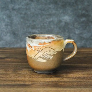 Wood fired pottery. Snow seeing the mountain mug coffee cup