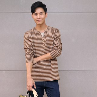 Egyptian cotton striped long-sleeved top (brown)