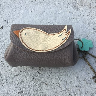Bird key / purse / vegetable tanned leather (to mark the English name)