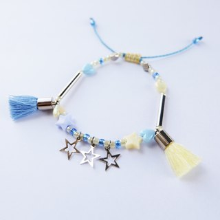 Blue/yellow tassel and star bracelet