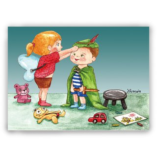 Hand drawn illustration Universal / Postcard / Card / Illustration Card - Dress up game Peter Pan