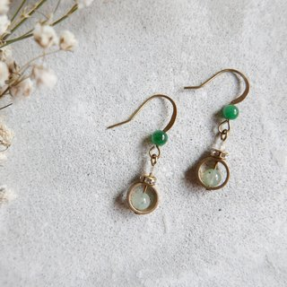 Geometric series. Jade Pearl Brass Earrings