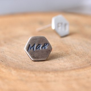 <Engraving Accepted> Sterling Silver Stud Earring / Hexagon / Geometric