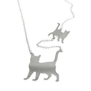 2 Step cute cat necklace