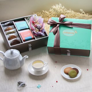 Mid-Autumn Silver Satin Flower Gift Box-Flower Tea Tea Bag + Biscuits + Dry Flowers---[HERDOR Tea Gift Box]