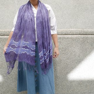 Tie dye scarf shawl cotten jacquard : Purple Diamond :
