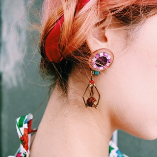 | Purple Caro | Dry Flower Ear Pins (two ways of wear)