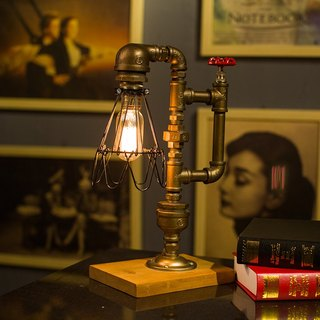 "Loft Style Lamp, ""The Cage"", Steam Punk Industrial Vintage Style, Wood Base Metal Body, Table Desk Light With Dimmer"