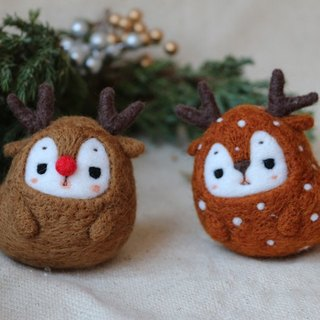Lovely forest - snow deer and red nose deer ornaments (two)