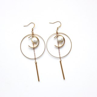 Brass Earrings | White Ear Pins / Ear Clips