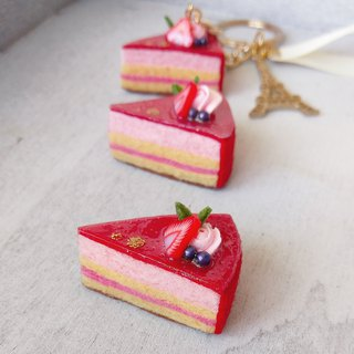 A piece of cake / Raspberry Mousse Cake / Charm Pin Magnet / [Gift]