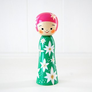 Kokeshi doll / red cheeks girl / design-no.7 /