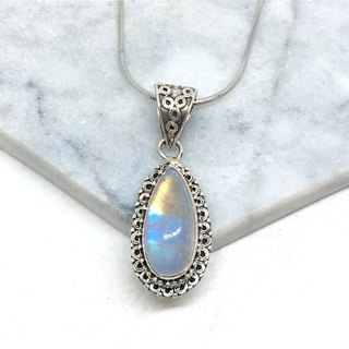 Moonlight stone 925 sterling silver embossed design necklace Nepal handmade mosaic production (style 3)
