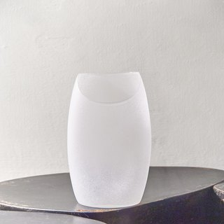 [3, co] glass moon-shaped flat flower device (No. 8) - white